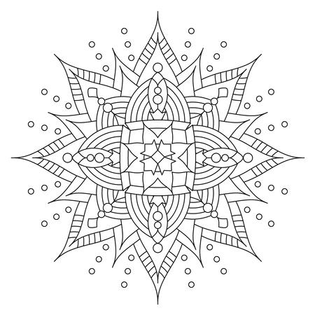 Illustration pour Abstract mandala or whimsical snowflake line art design or coloring page - image libre de droit