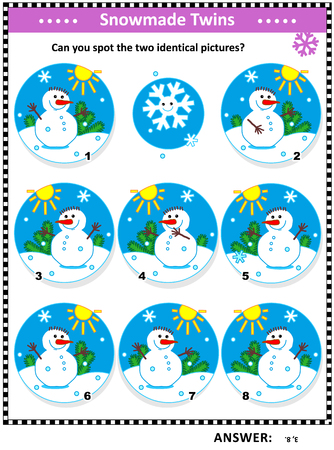 Illustration pour Winter, Christmas or New Year themed visual puzzle with snowmen: Can you spot the two identical pictures? Answer included. - image libre de droit