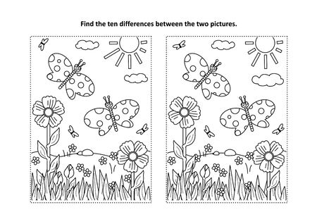 Illustration pour Spring or summer joy themed find the ten differences picture puzzle and coloring page with butterflies, flowers, grass. - image libre de droit