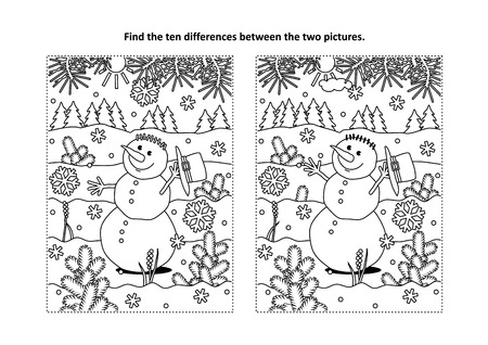 Illustration pour Winter holidays themed sketches for coloring books and children's activity - image libre de droit