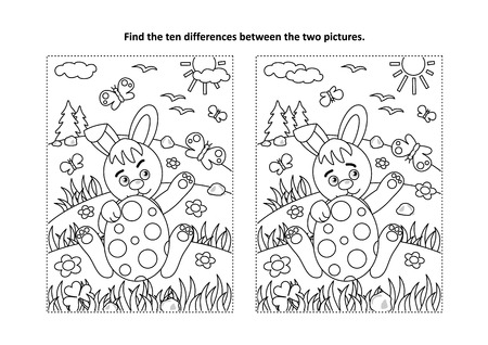Illustration pour Easter holiday themed find the ten differences picture puzzle and coloring page vector illustration - image libre de droit