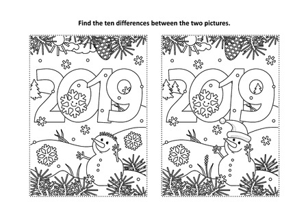 Illustration pour Year 2019 themed find the ten differences picture puzzle and coloring page with year 2019 heading and winter scene - image libre de droit