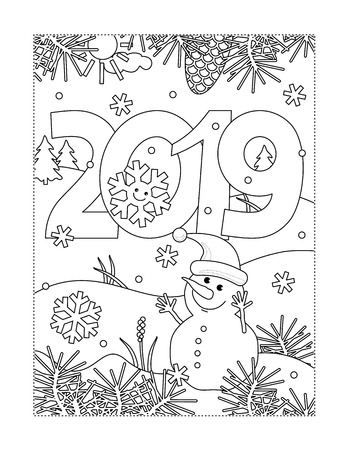 Illustration pour Winter holidays, New Year or Christmas joy themed coloring page with year 2019 heading, winter outdoor scene and little cute snowman wearing santa cap - image libre de droit