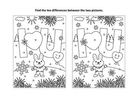 Illustration pour Valentine's Day find the ten differences picture puzzle and coloring page with I Love You message and cute little bunny - image libre de droit