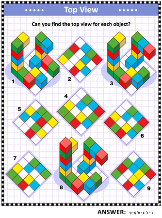 Illustration pour Educational math puzzle: Find the top view for each of the toy blocks structures. Answer included. - image libre de droit