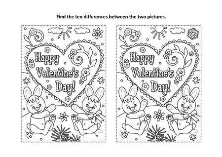 Illustration for Valentine's Day find the ten differences picture puzzle and coloring page with Happy Valentine's Day greeting text and two cute little bunnies - Royalty Free Image