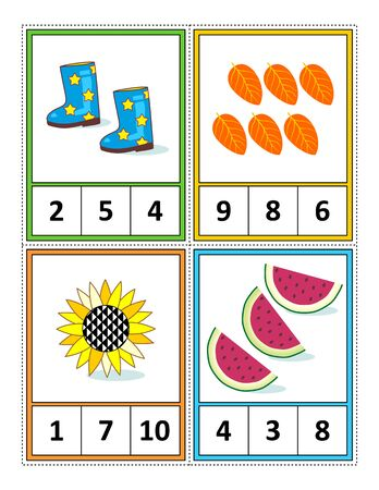 Illustration pour Autumn season themed counting 1 to 10 practice for kids worksheet or four task cards (when cut along the dotted lines): Count. Circle the correct answer. - Language independent. - image libre de droit