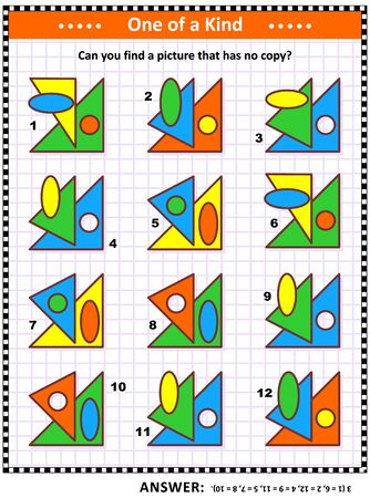 Illustration pour IQ training educational math puzzle for kids and adults with basic shapes -  oval, circle, triangles - overlays and colors: Can you find the picture that has no copy? Answer included. - image libre de droit