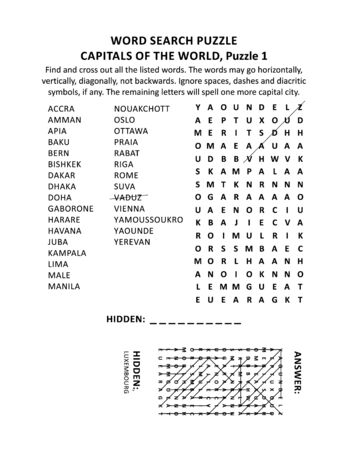 Illustration pour Capitals of the world word search puzzle or word game (English language), puzzle 1 of 10. Answer included. - image libre de droit