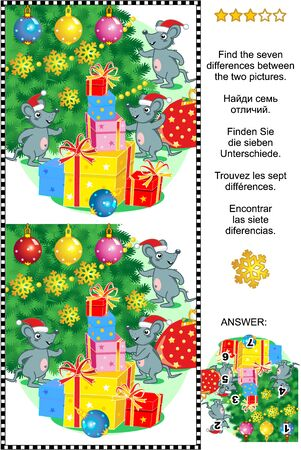 Illustration for Winter holidays visual puzzle: Find the seven differences between the two pictures of mice, christmas tree and presents. Answer included. - Royalty Free Image