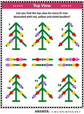 Illustration pour IQ  training top view visual puzzle (suitable both for kids and adults): Can you find the top view for every fir tree decorated with red, yellow and violet baubles? Answer included. - image libre de droit