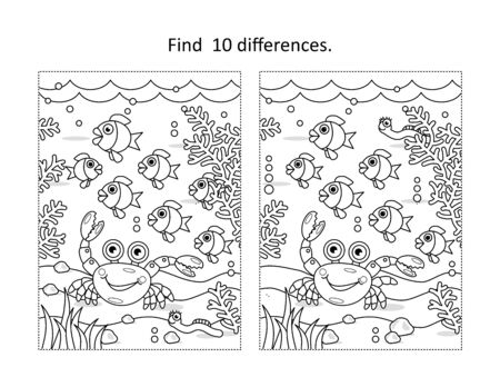 Illustration for Find ten differences activity page with underwater life scene - Royalty Free Image