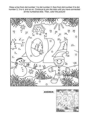Illustration pour Year 2021 connect the dots puzzle and coloring page, activity sheet for kids. Answer included. - image libre de droit