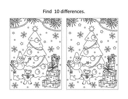 Illustration pour Winter holidays, New Year or Christmas themed find the ten differences picture puzzle and coloring page with christmas tree, tedyy bear, snowman, gift boxes - image libre de droit