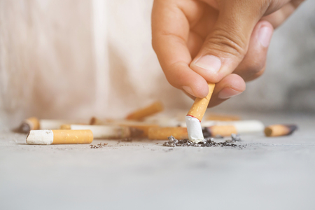 Photo for smoking tobacco cigarettes ashtray. - Royalty Free Image