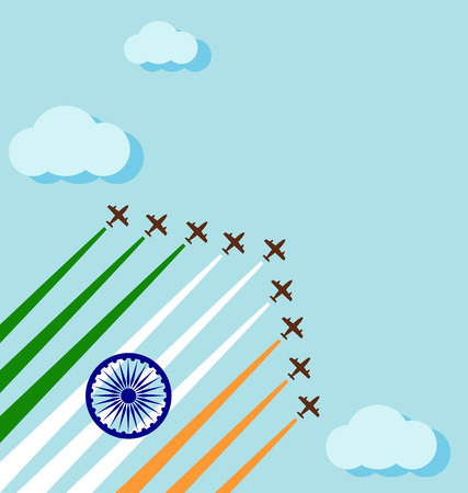 Air show on the sky for celebrate the national day of India