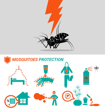 Set of Mosquitoes protection malaria Dengue and zinka virus