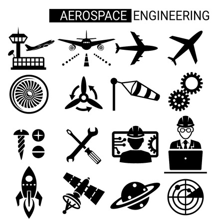 Illustration pour Set of aerospace engineering icon design for airplane and aviation. - image libre de droit