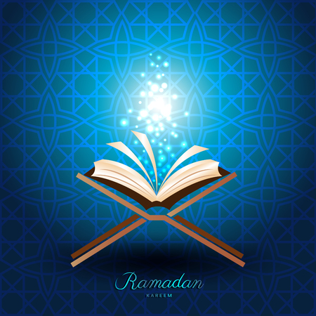 Illustration pour Muslim Quran with magic light on blue background for ramadan of Islam - image libre de droit