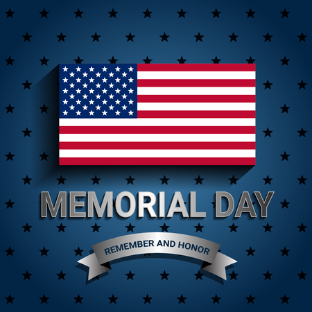 Illustration for American Flag with ribbon for Memorial day poster - Royalty Free Image