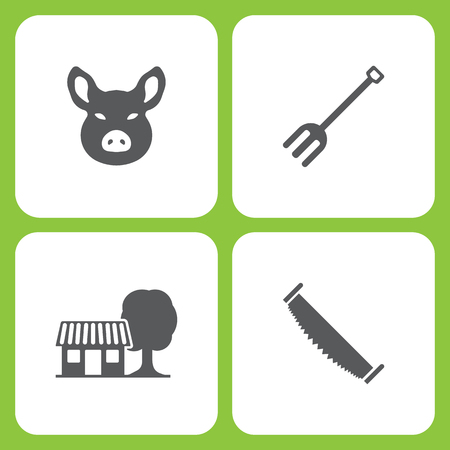 Vector Illustration Set Of Simple Farm and Garden Icons. Elements Pig head, garden tools, Farm house, two man saw on white background