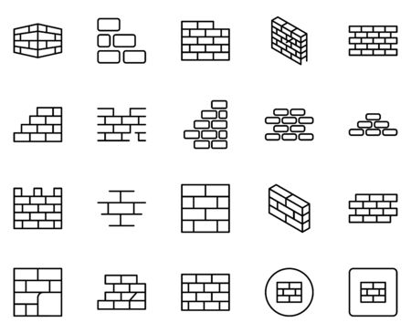 Illustration pour Wall icon set. Collection of high quality outline web pictograms in modern flat style. Black Wall symbol for web design and mobile app on white background. - image libre de droit