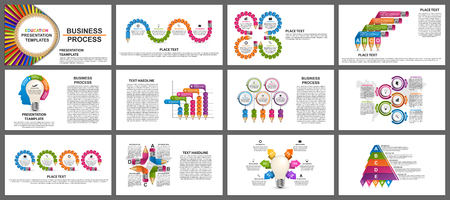 Ilustración de Business presentation templates. Modern elements of infographic. Can be used for business presentations, leaflet, information banner and brochure cover design. - Imagen libre de derechos