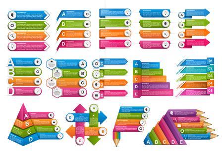 Illustration pour Collection infographics. Vector design elements. Infographics for business presentations or information banner, workflow layout, flow chart. - image libre de droit