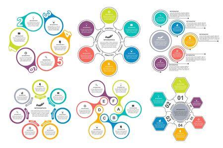 Illustration pour Bundle infographic elements in flat style for business presentations and brochures. - image libre de droit