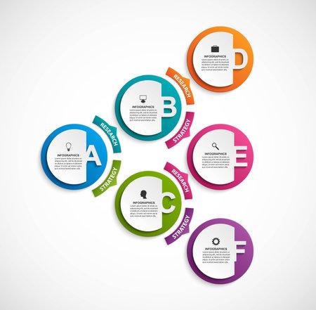 Illustration pour Infographic design organization chart template. Numeric infographic template. - image libre de droit