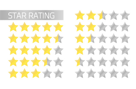 Isolated star rating in flat style 5 to 0 stars  full and half stars