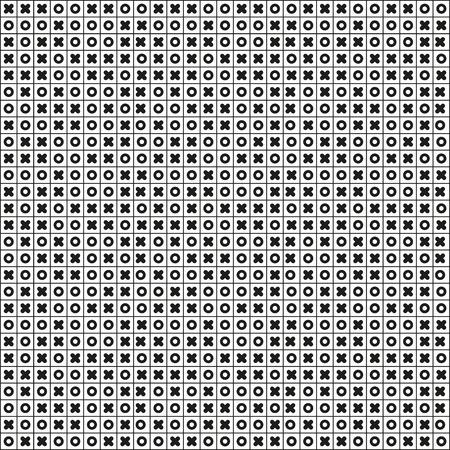Black and white seamless pattern full od tic tac toe