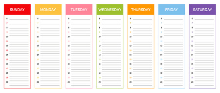 Week planning calendar in colors of the day the according to Thai and Khmer astrological rules