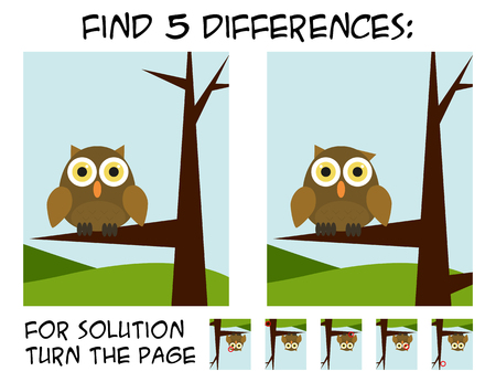 Illustration pour Child game - find 5 differences in pictures; with step by step solution; picture with owl sitting on branch with simple nature background - image libre de droit