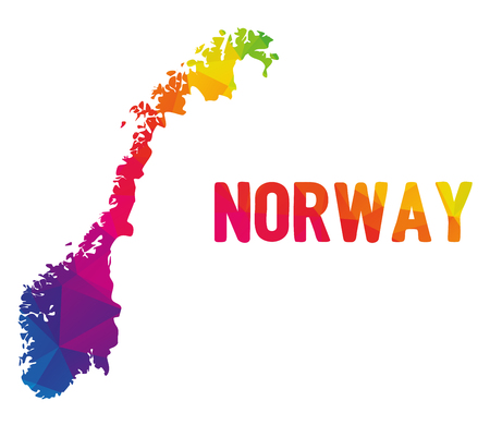 Illustration pour Low polygonal map of Norge with sign Norway (Kingdom of Norway - Kongeriket Norge), both in warm colors of red, purple, orange, yellow and green; country in North Europe in Scandinavia - image libre de droit