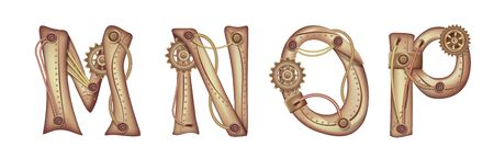 Symbols of the Latin alphabet M N O P. The letters of the English language. Copper and brass mechanisms with tubes, gears and rivets. Freely editable isolated on white background.