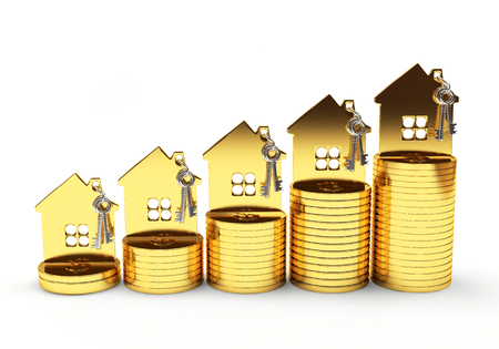 Photo pour Mortgage concept. Golden house on stack of coins isolated on white background - image libre de droit
