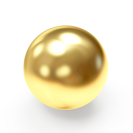 Foto de Golden shining sphere isolated on a white background - Imagen libre de derechos