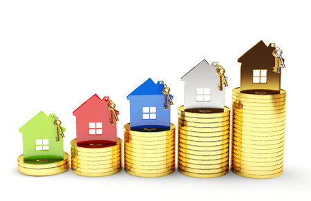 Photo pour Mortgage concept. Different houses on stacks of coins isolated on white background - image libre de droit