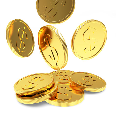 Foto per Falling golden coins close-up isolated on a white background - Immagine Royalty Free
