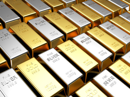 Photo for Business and finance background. Rows of golden and silver bars - Royalty Free Image