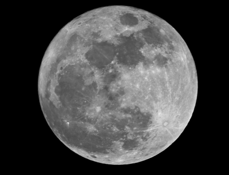 Full moon closeup showing the details of the lunar surface