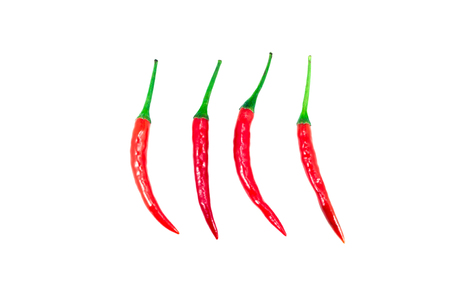 fresh red hot chilli peppers with spicy isolated on white background
