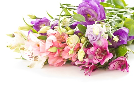Photo for  bright bouquet of different flowers on a white background - Royalty Free Image