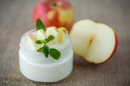 fresh milk homemade yogurt with fresh apples