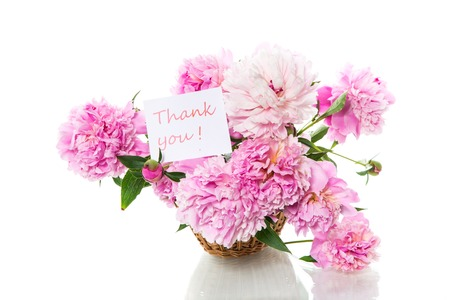 Photo for bouquet of blooming peonies isolated on white background - Royalty Free Image