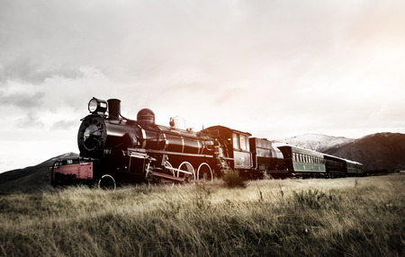 Steam Train In A Open Countryside Transportation Concept