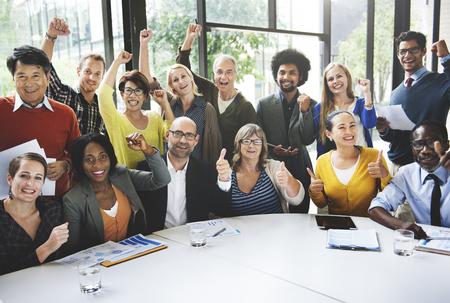 Photo pour Business Team Success Achievement Arm Raised Concept - image libre de droit