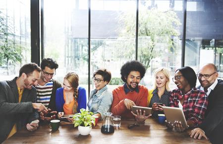 Photo pour People Meeting Communication Technology Digital Tablet Concept - image libre de droit