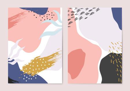 Illustration pour Set of colorful Memphis style backgrounds vector - image libre de droit